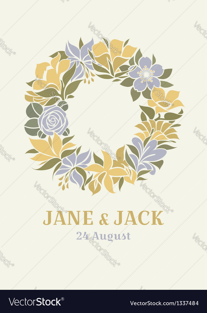 Wedding design with floral wreath vector image