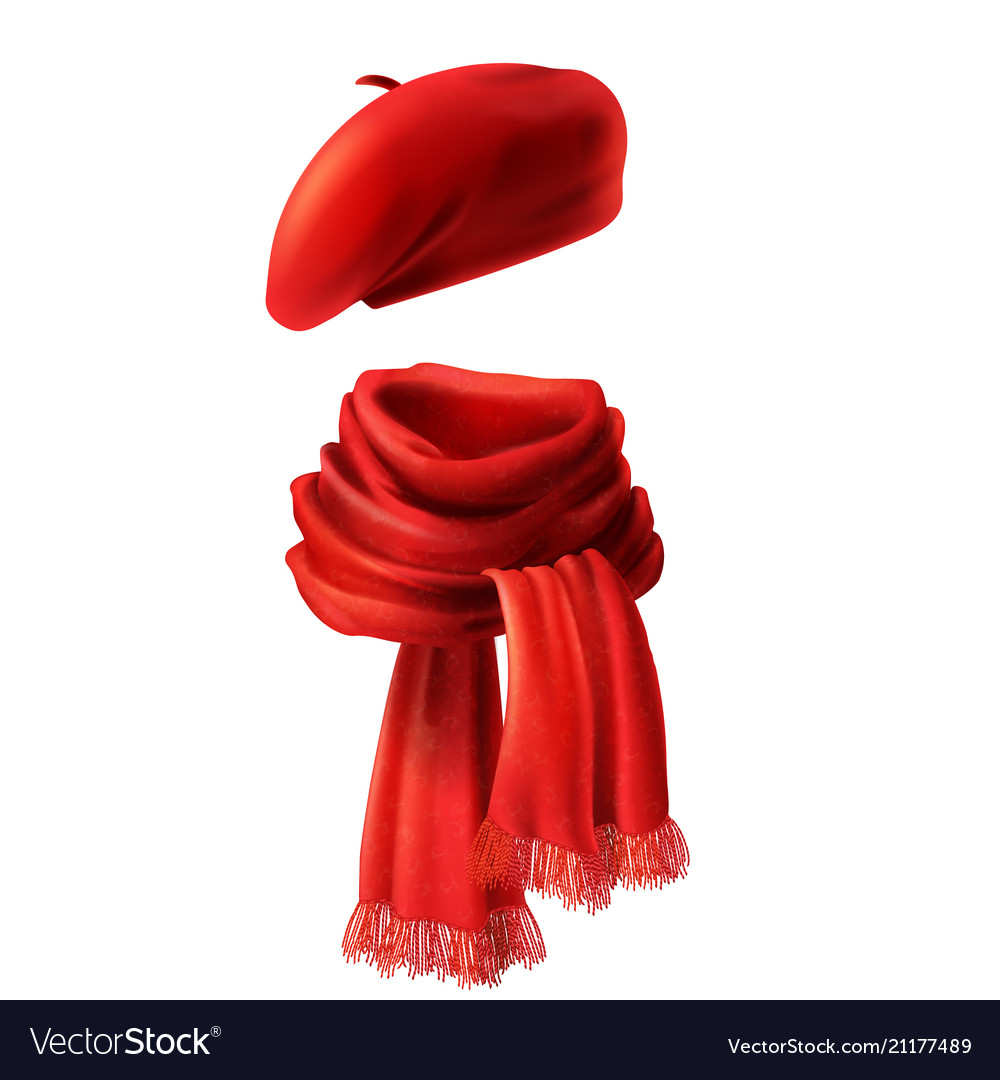 3d realistic red scarf and beret