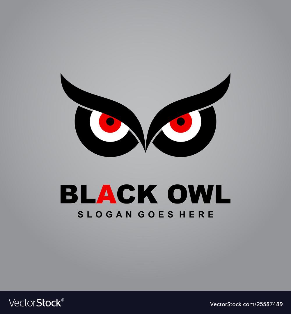Black owl logo eye logo owl icon flat