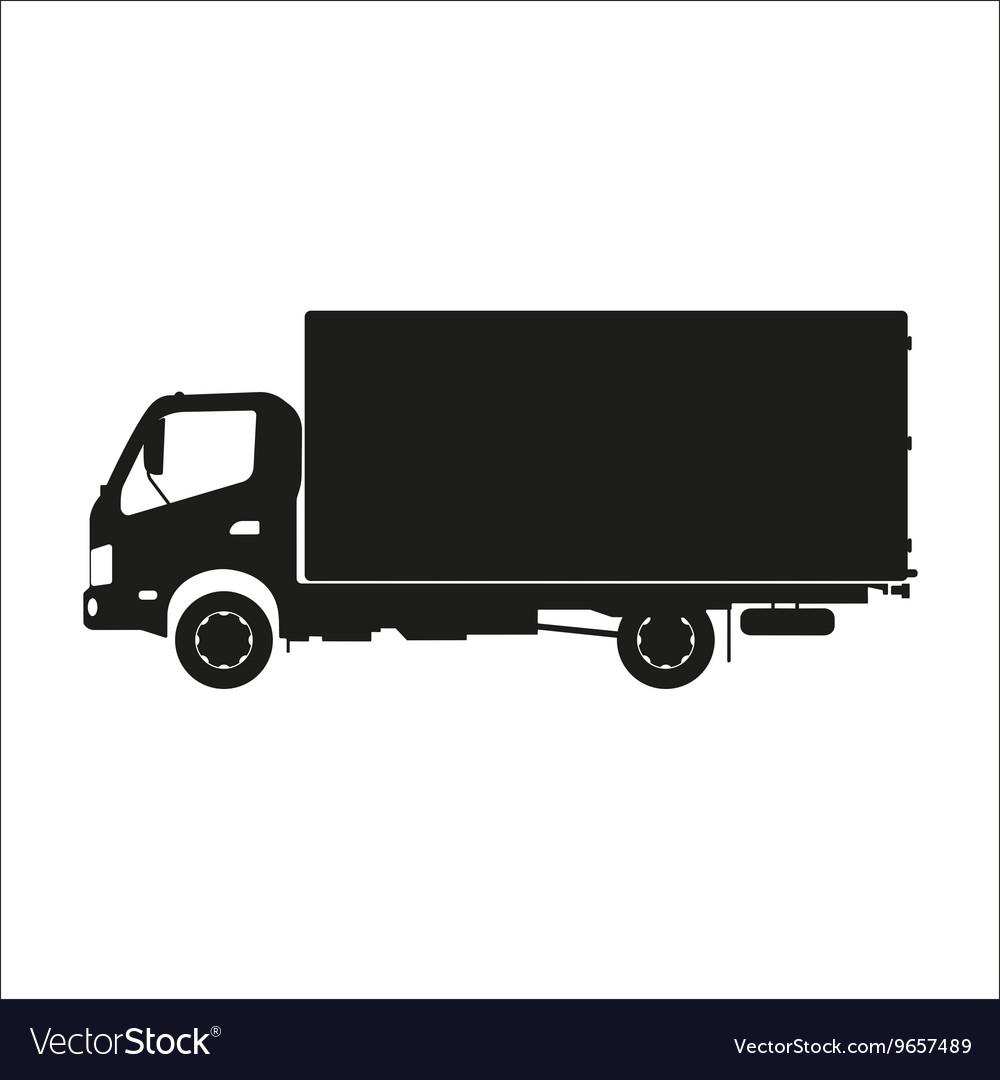 Black silhouette of a truck on a white background
