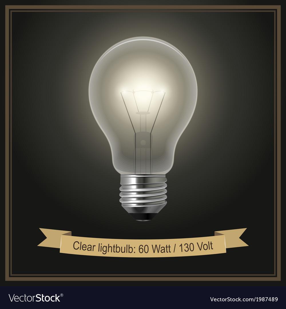 Clear lightbulb vector image