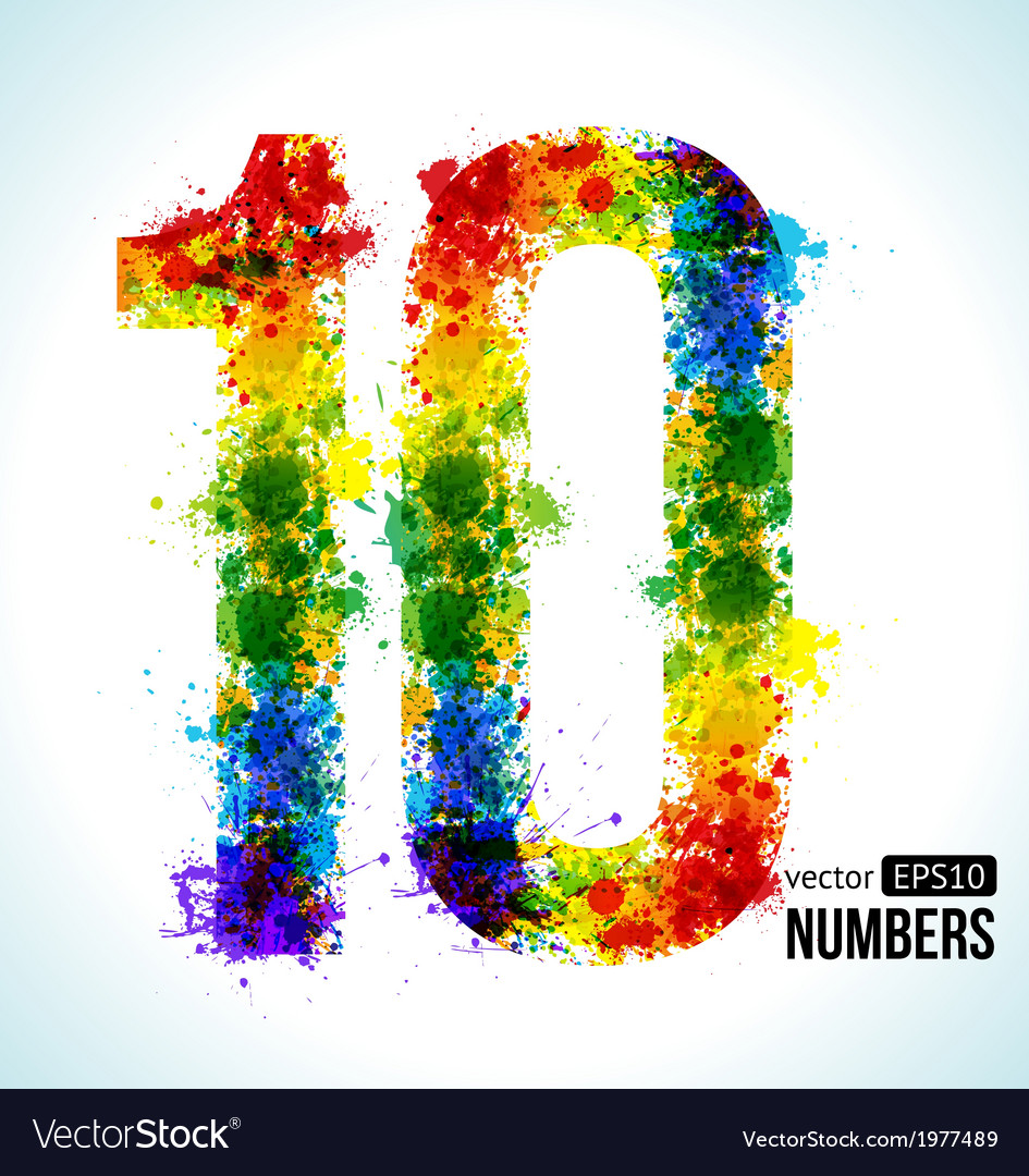 Color paint splashes Gradient Number 10 Royalty Free Vector