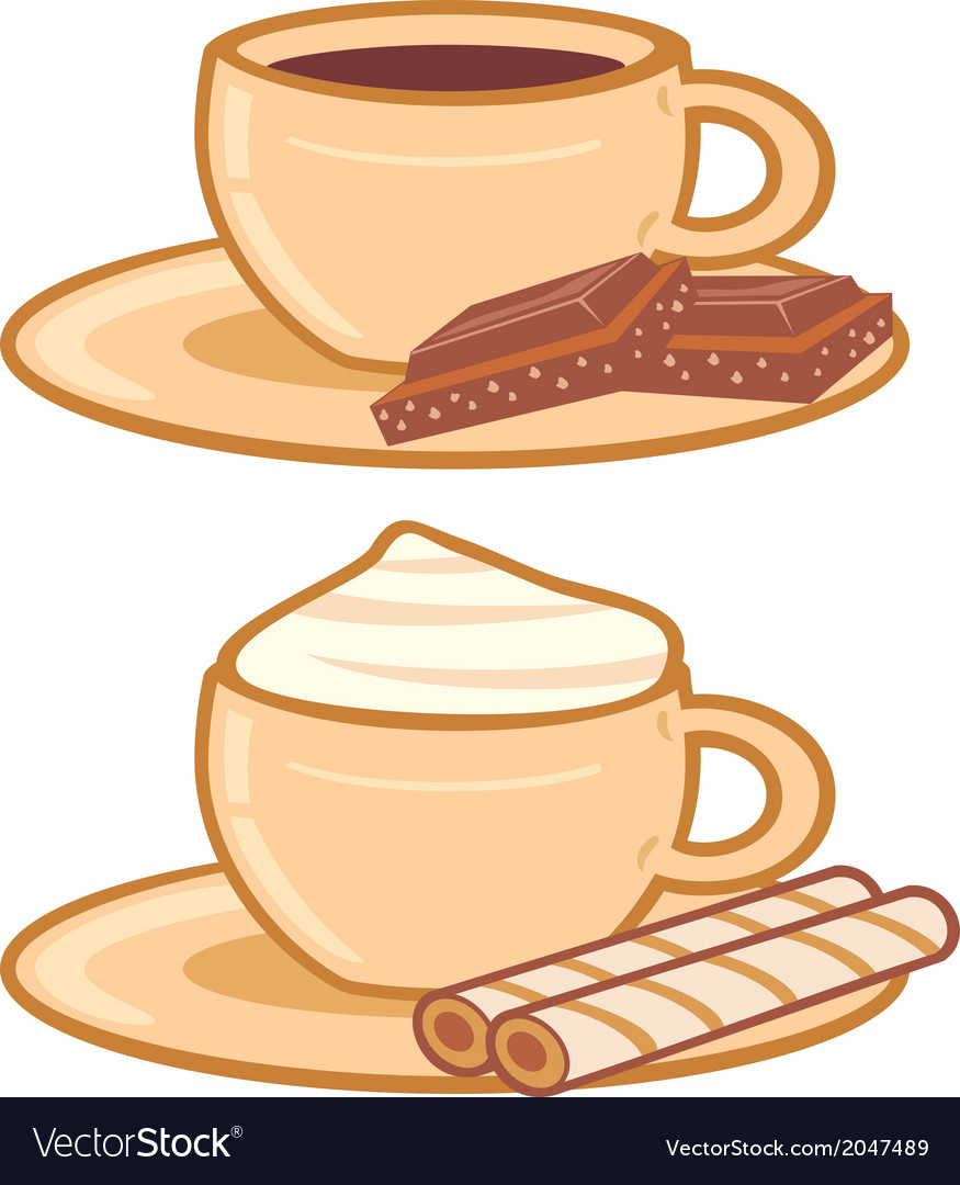 Cups of coffee with a chocolate and cream