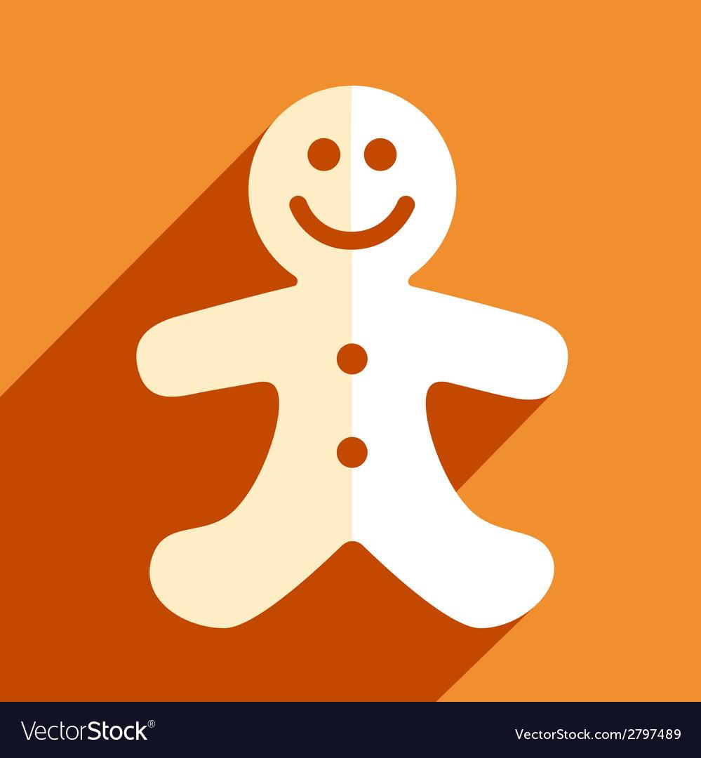 Gingerbread man christmas flat icon