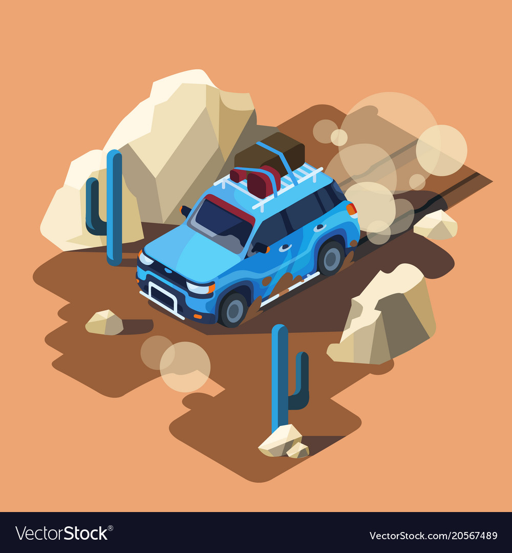 Isometric safari car desert landscape