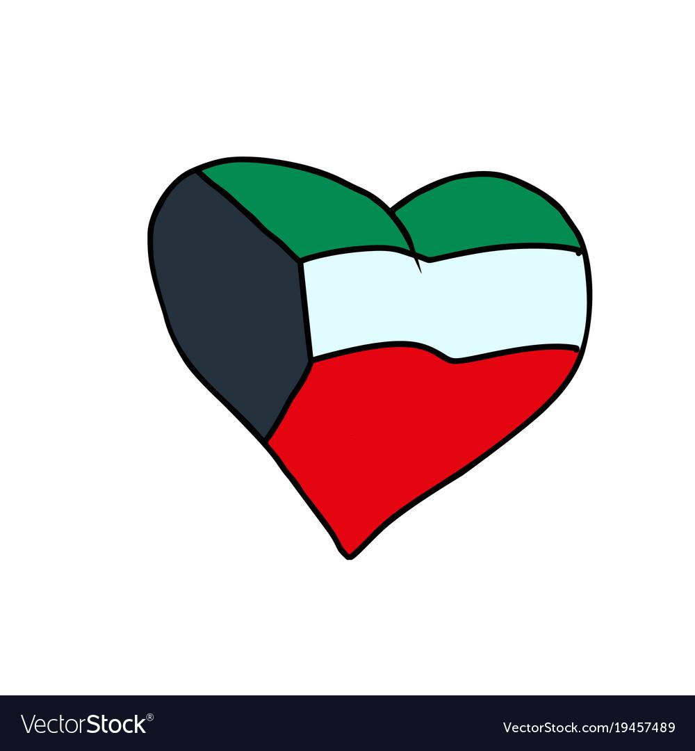 Kuwait isolated heart flag on white background