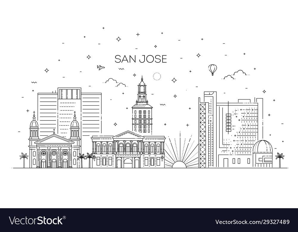 Minimal san jose city linear skyline