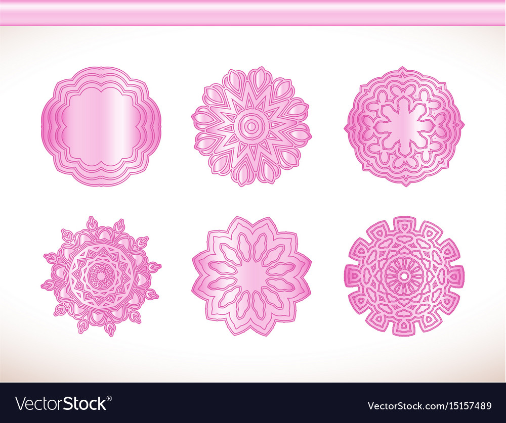 Ornamental Round Lace Pink Flower Royalty Free Vector Image