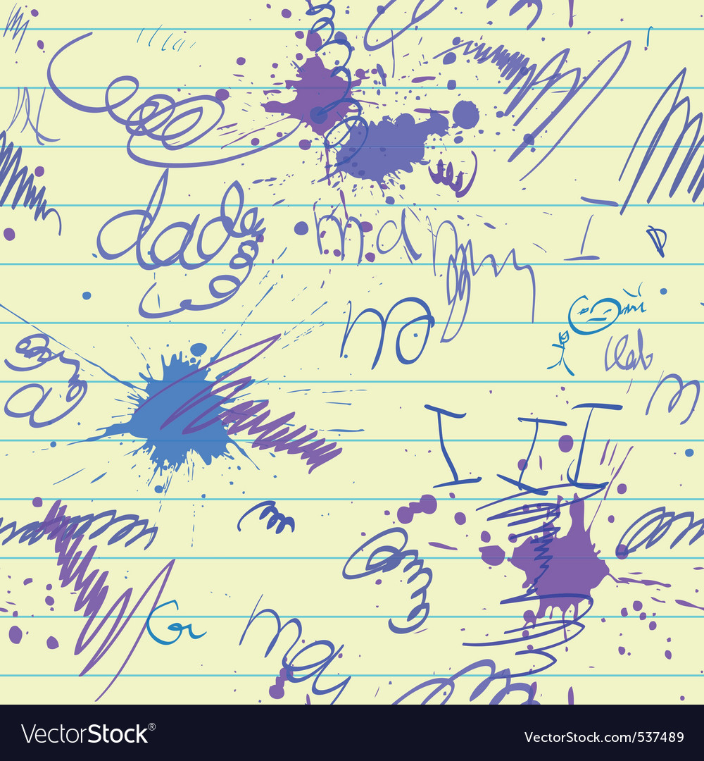 Scrawl and blot on school paper sheet seamless vector image