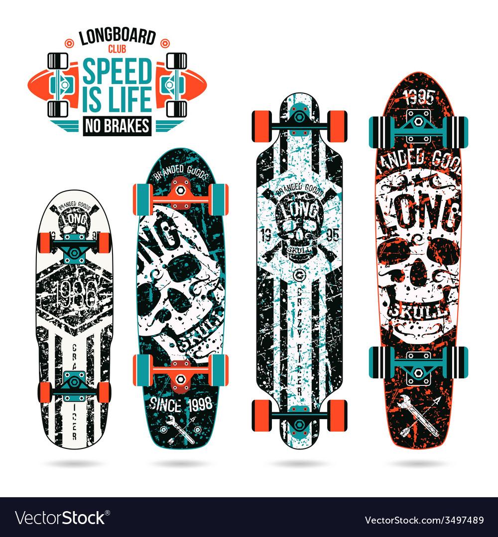 Set of skull prints on longboard vector image