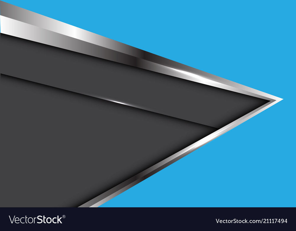 Abstract silver arrow on blue with dark gray