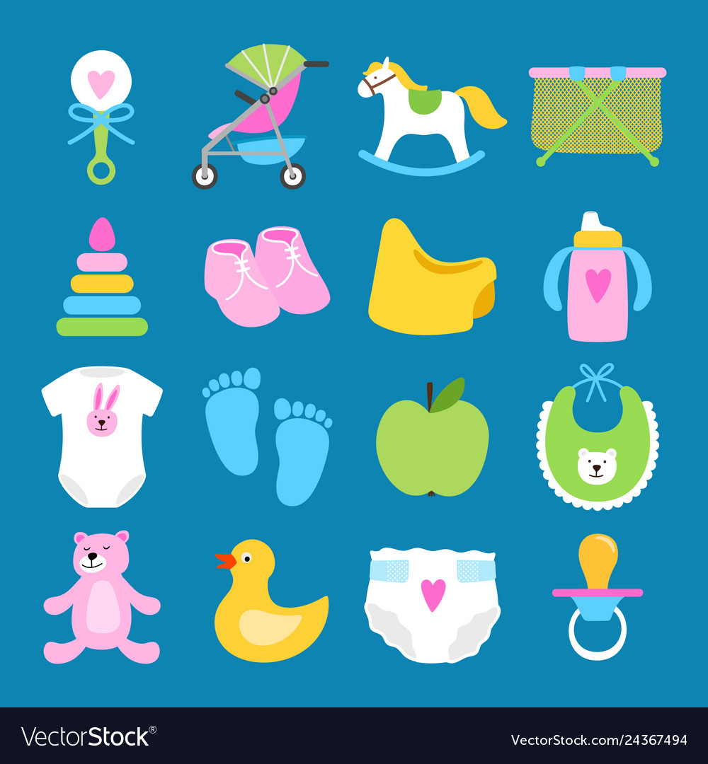 Babies set toys clothes and diapers icons
