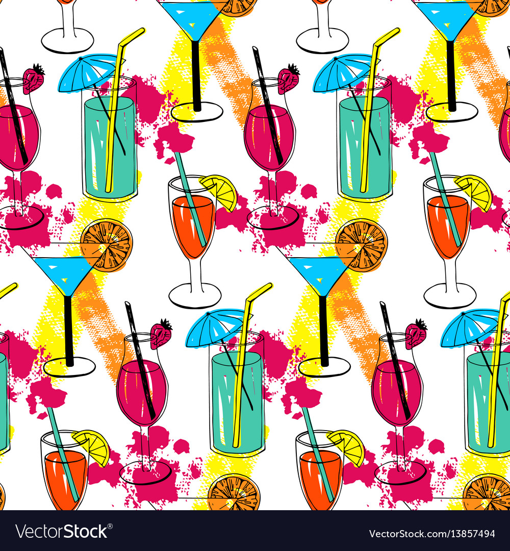 Cocktail seamless pattern with hand drawn sketch vector image