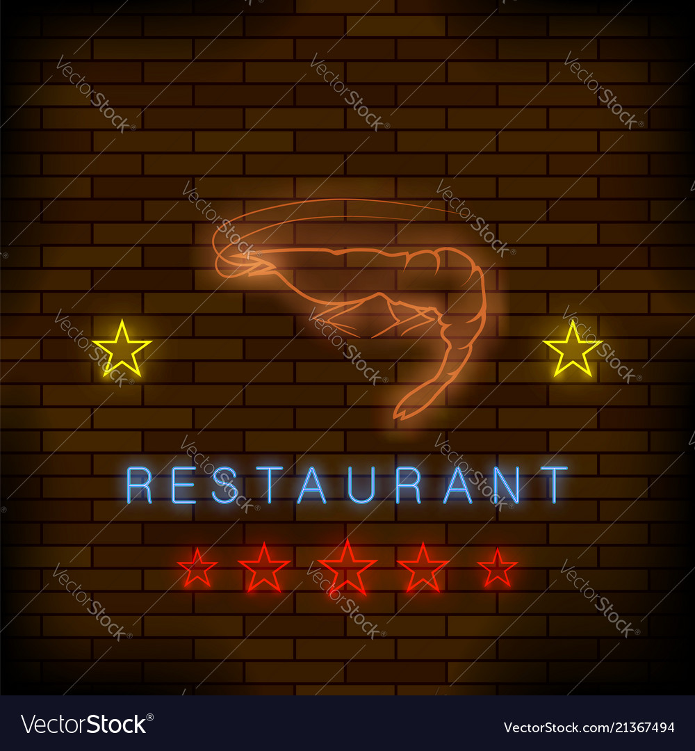 Colorful neon lobster restaurant sign
