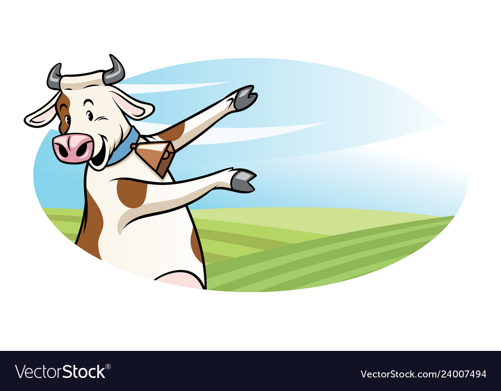 Cow with cartoon style presenting the blank space