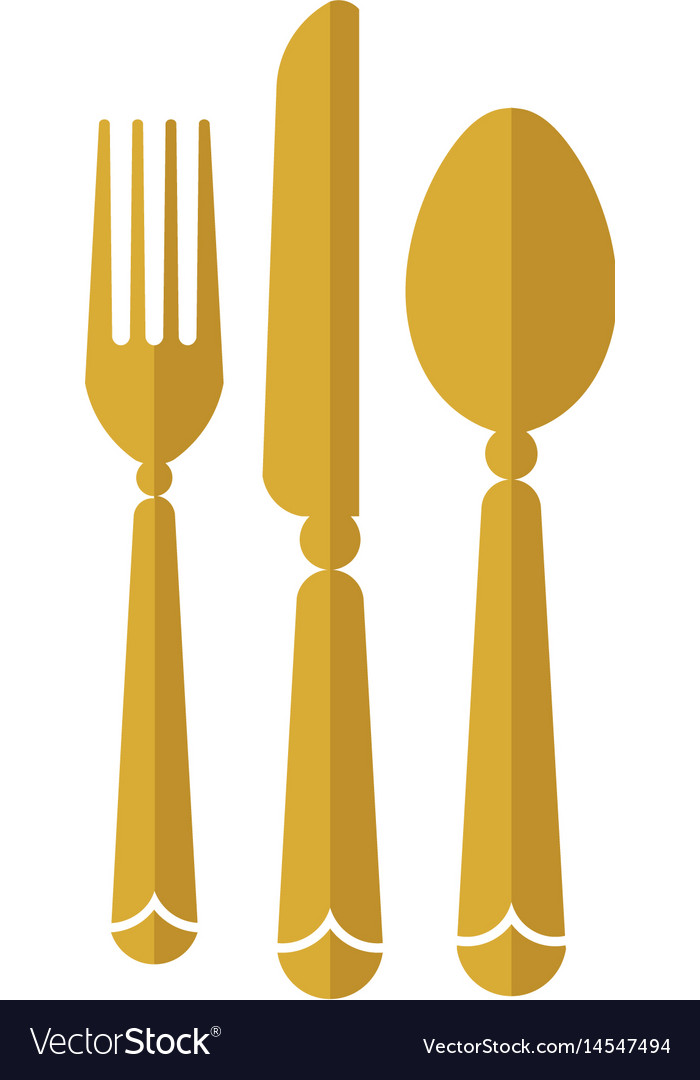 eat logo with spoon knife and fork gold color icon