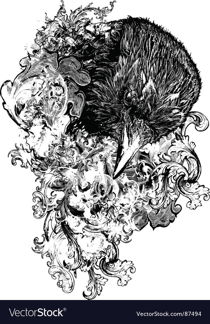 Floral crow illustration