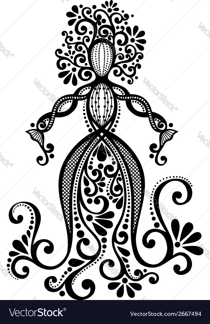 Hand Drawing Silhouette of Floral Goddess