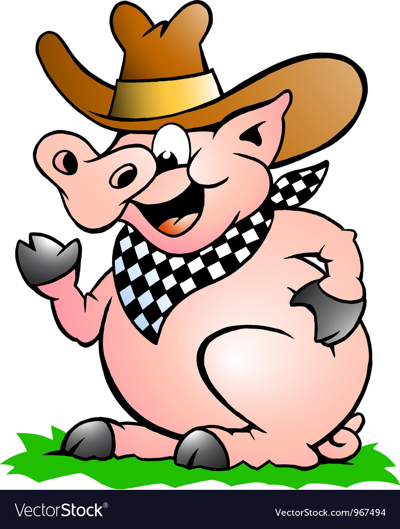 Hand-drawn of an Pig Chef that Welcomes