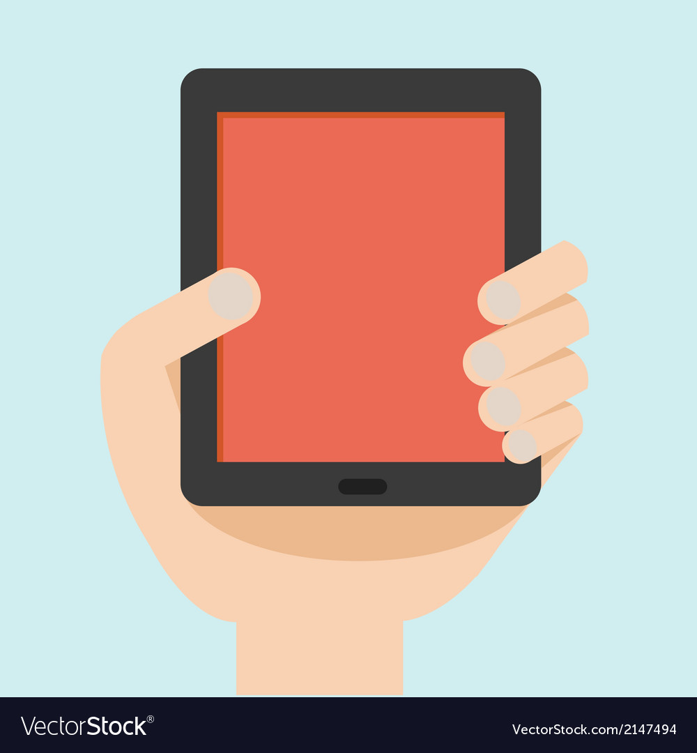 Hand with tablet flat design