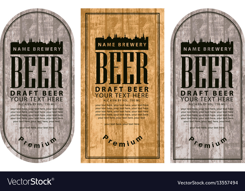 Label beer with the old town on wooden background