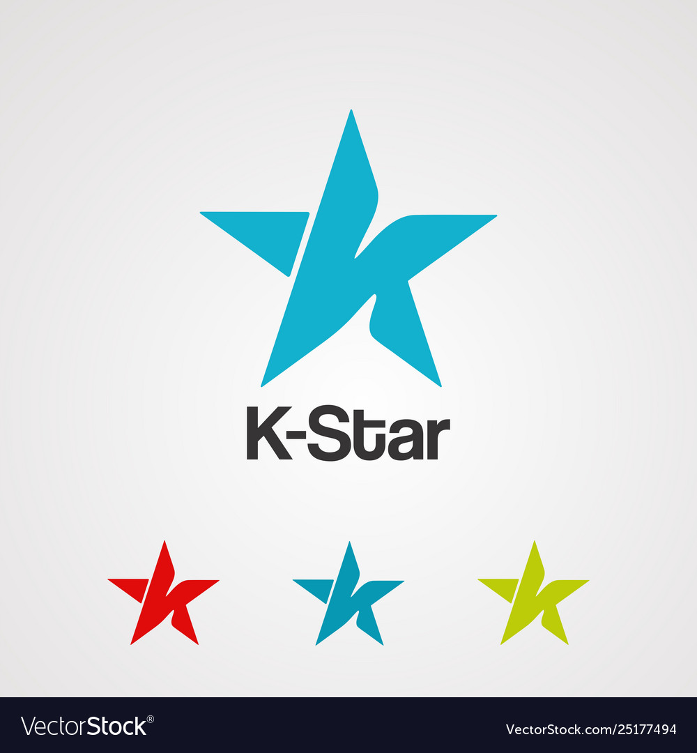 Letter k star logo icon element and template