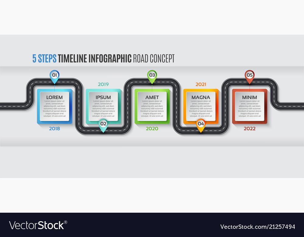 Navigation map infographic 5 steps timeline