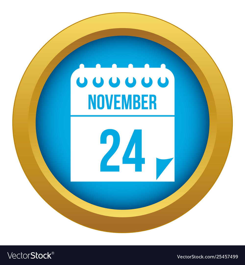 24 november calendar icon blue isolated