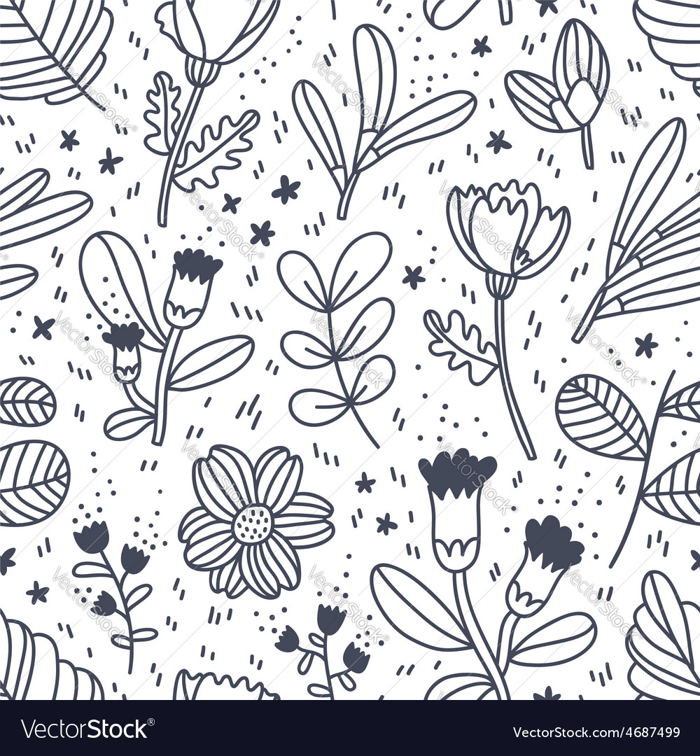 Black and white decorative floral pattern