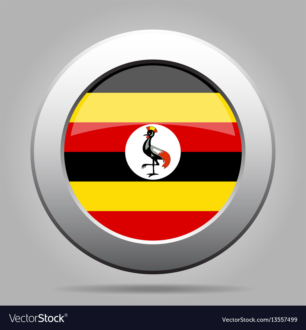 Flag of uganda shiny metal gray round button