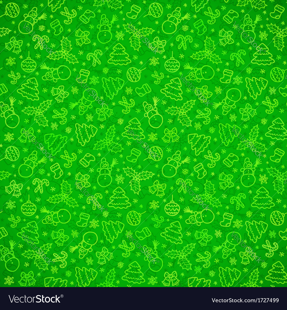 Green ornate Christmas symbols seamless pattern