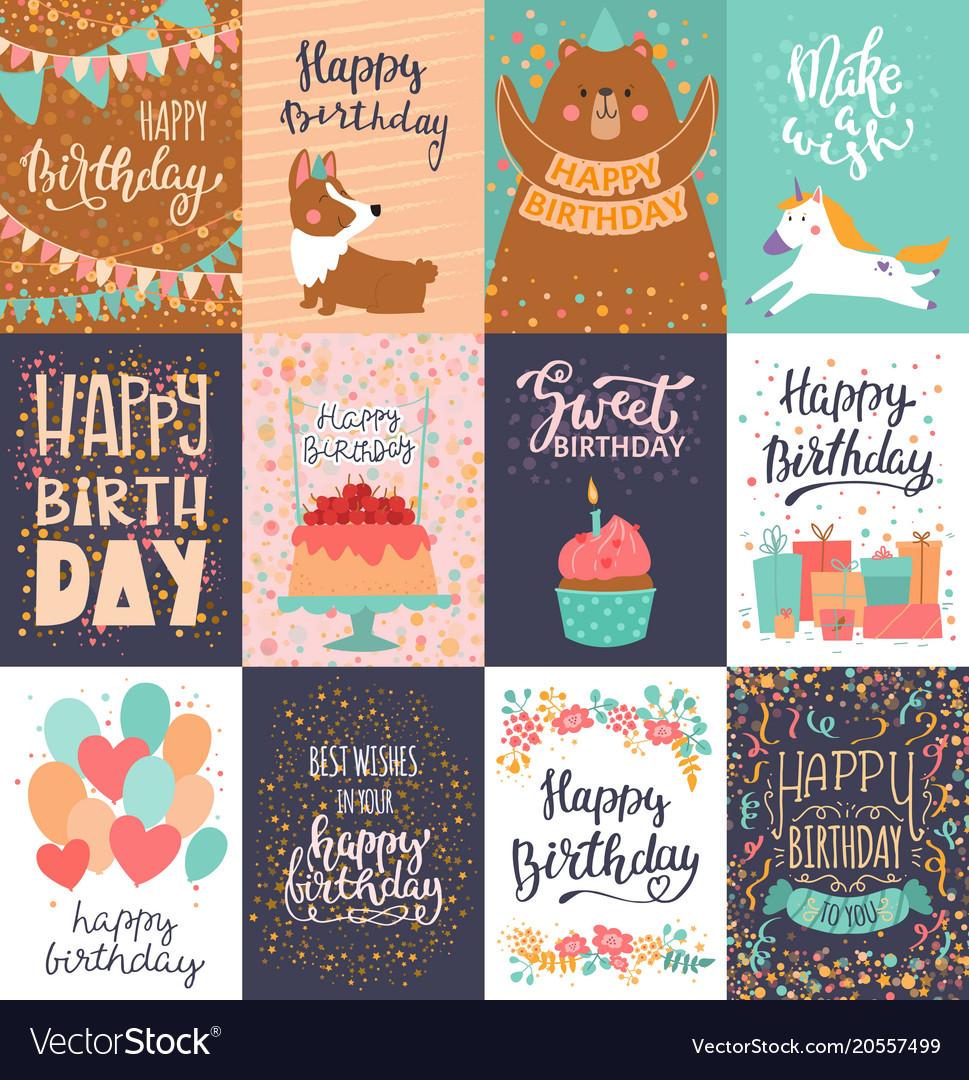 Happy birthday card anniversary greeting vector image