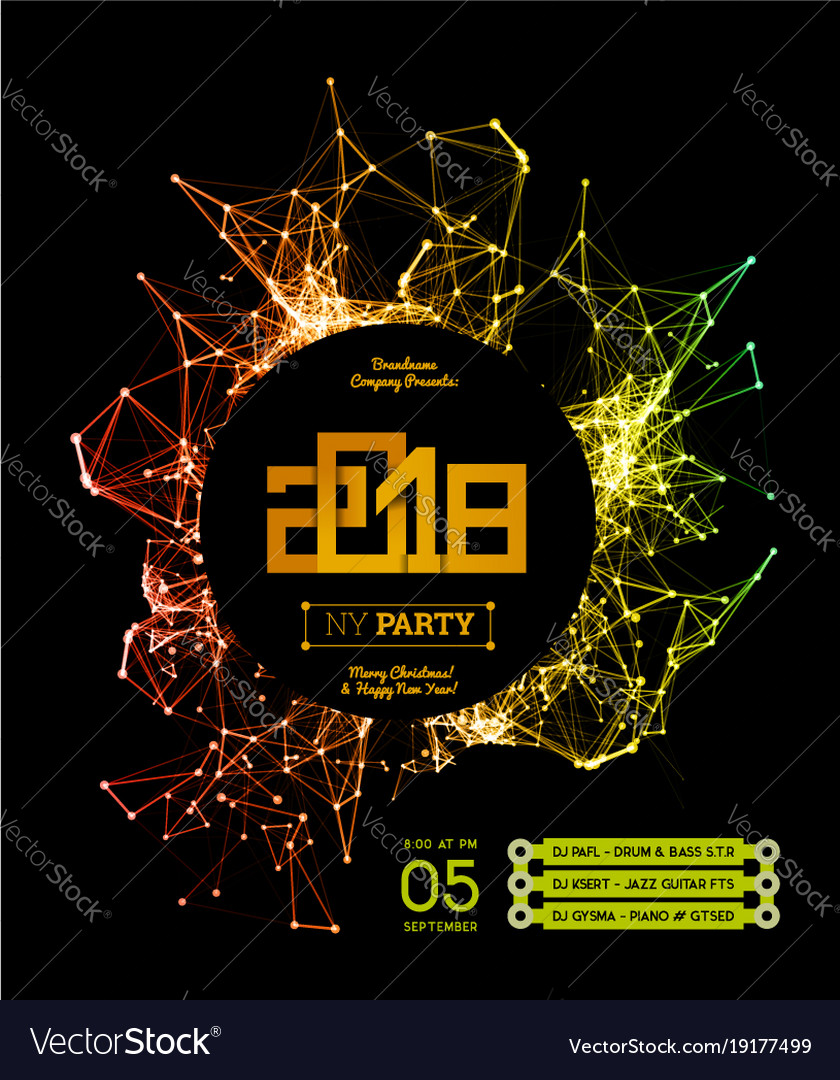 invitation to the new year party of 2018 vector image