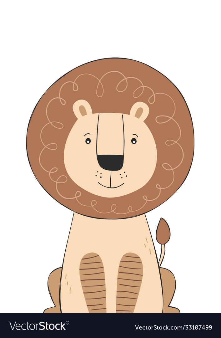 Lion cute doodle hand drawn cartoon character