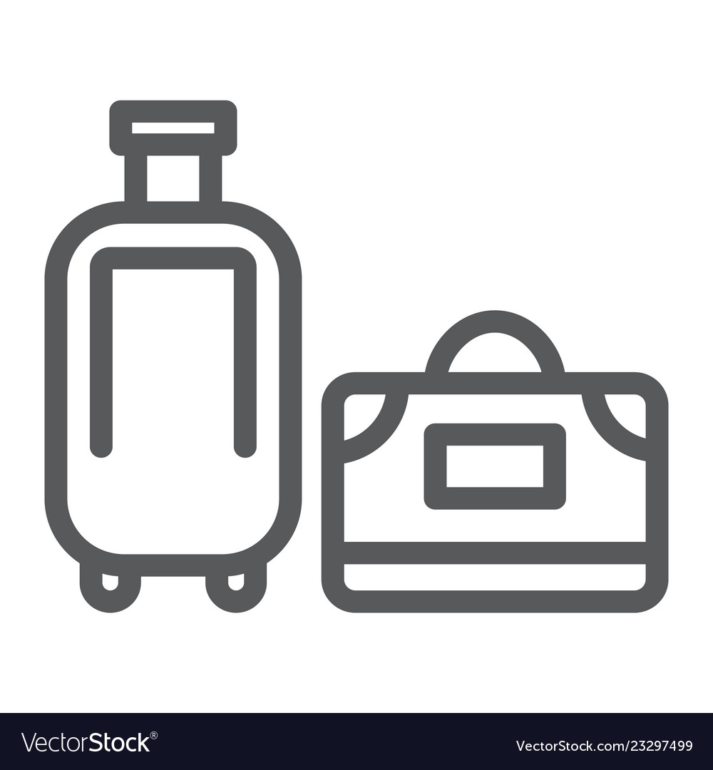 Luggage line icon travel and baggage suitcase