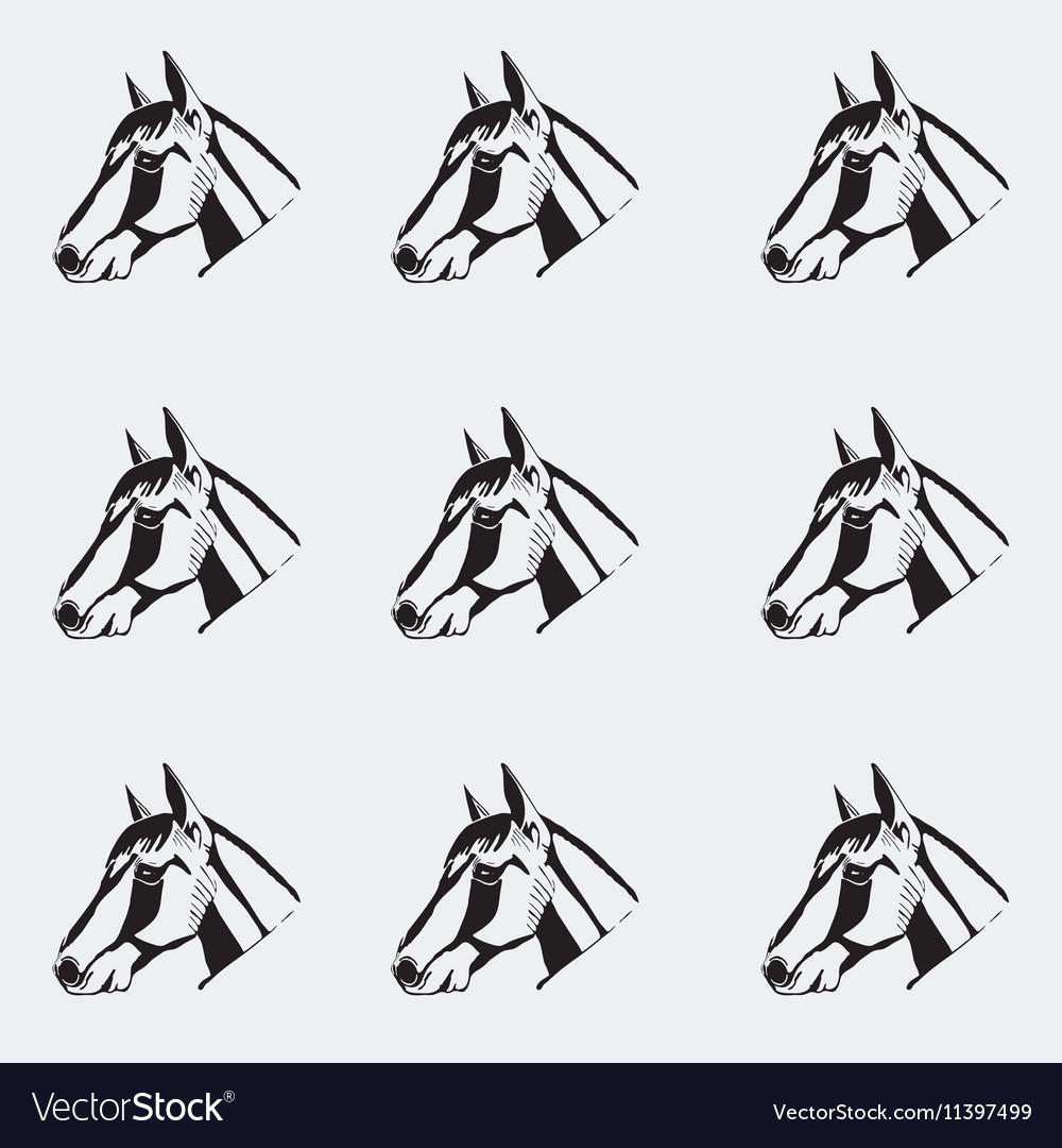 Pattern Monochrome Black And White Horse Head Hand