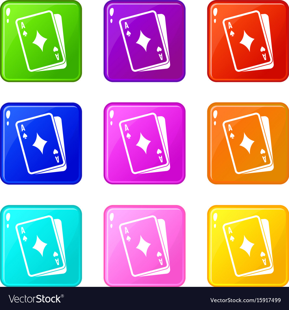 Playing card icons 9 set