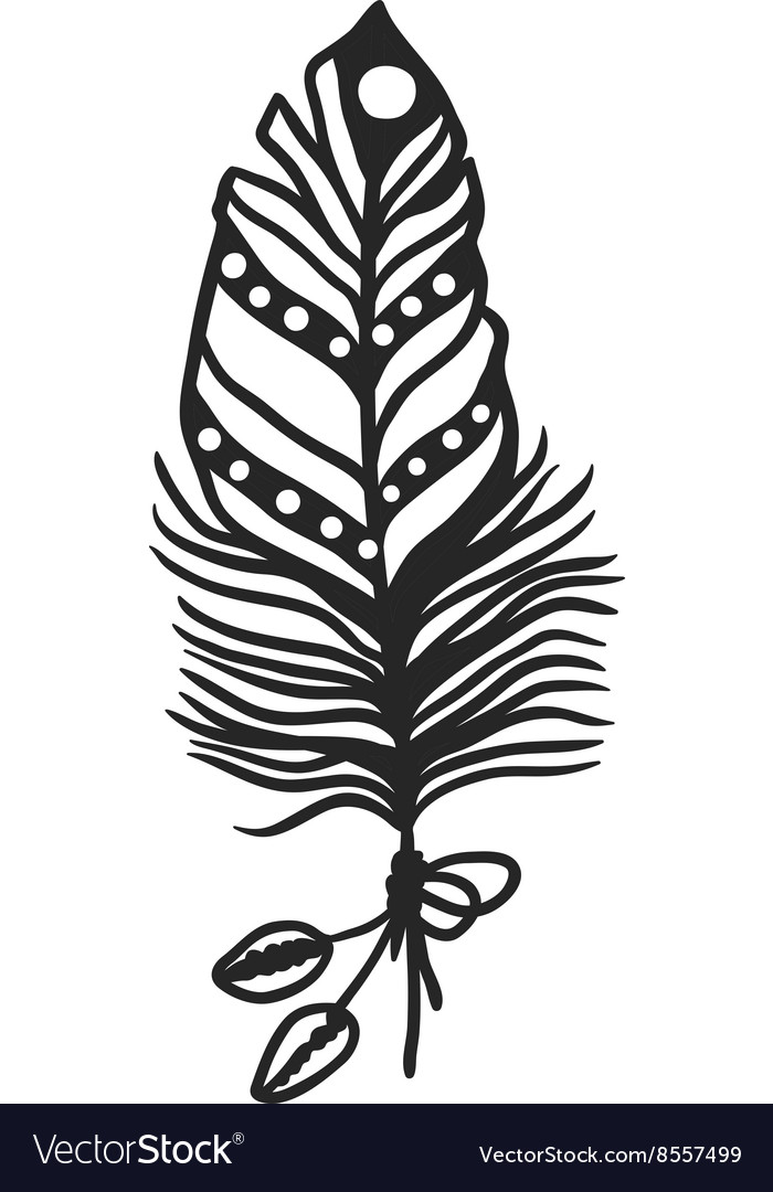 Rustic decorative black feather doodle vintage art