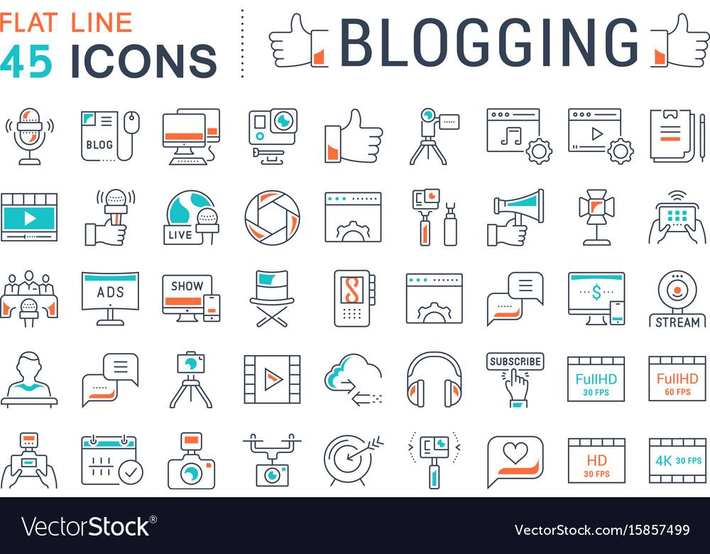 Set flat line icons blogging vector image