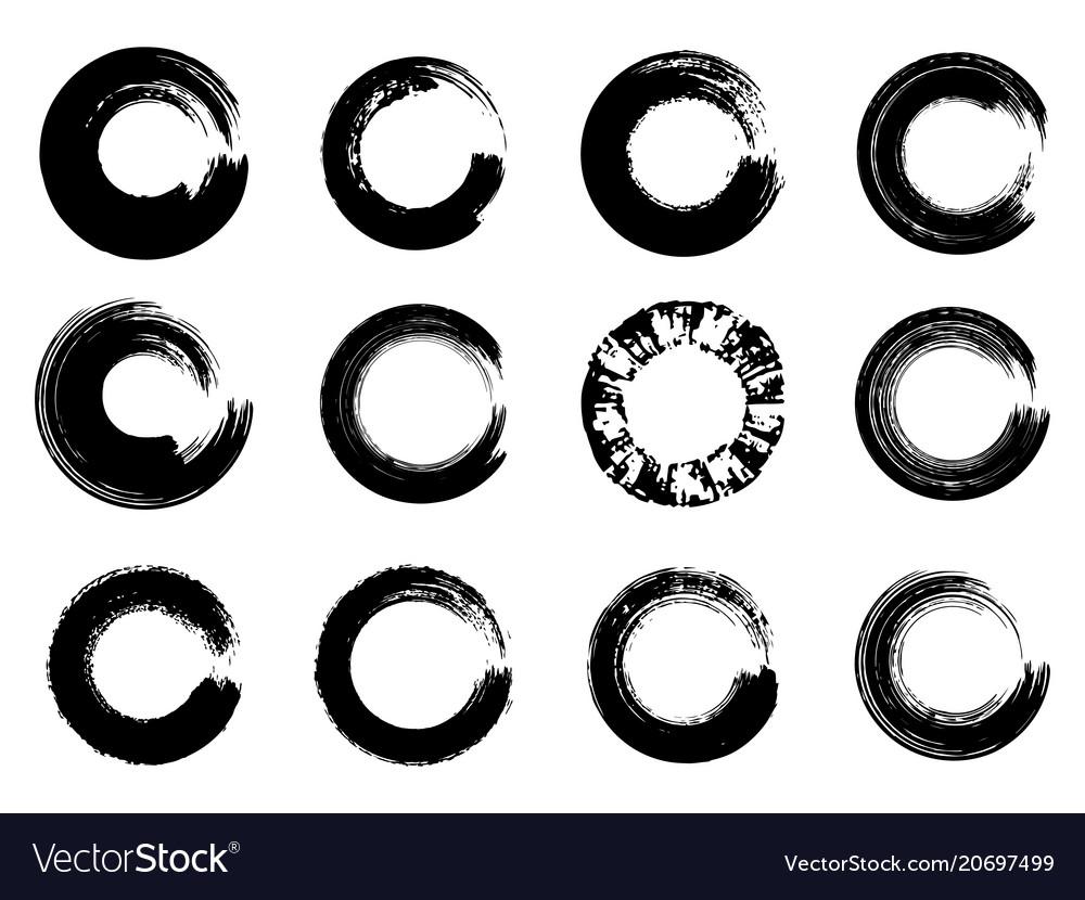 Set of black ink round brush stroke on white