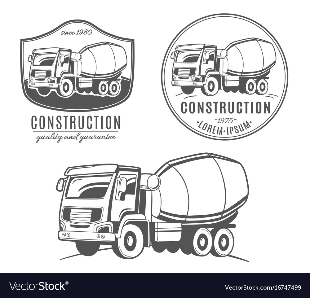 Set of logos with concrete mixer truck