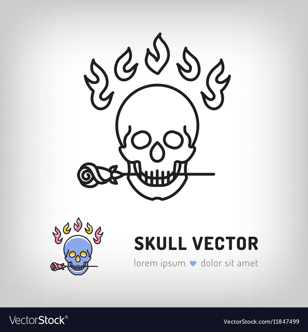 Skull logo design template Line art icon