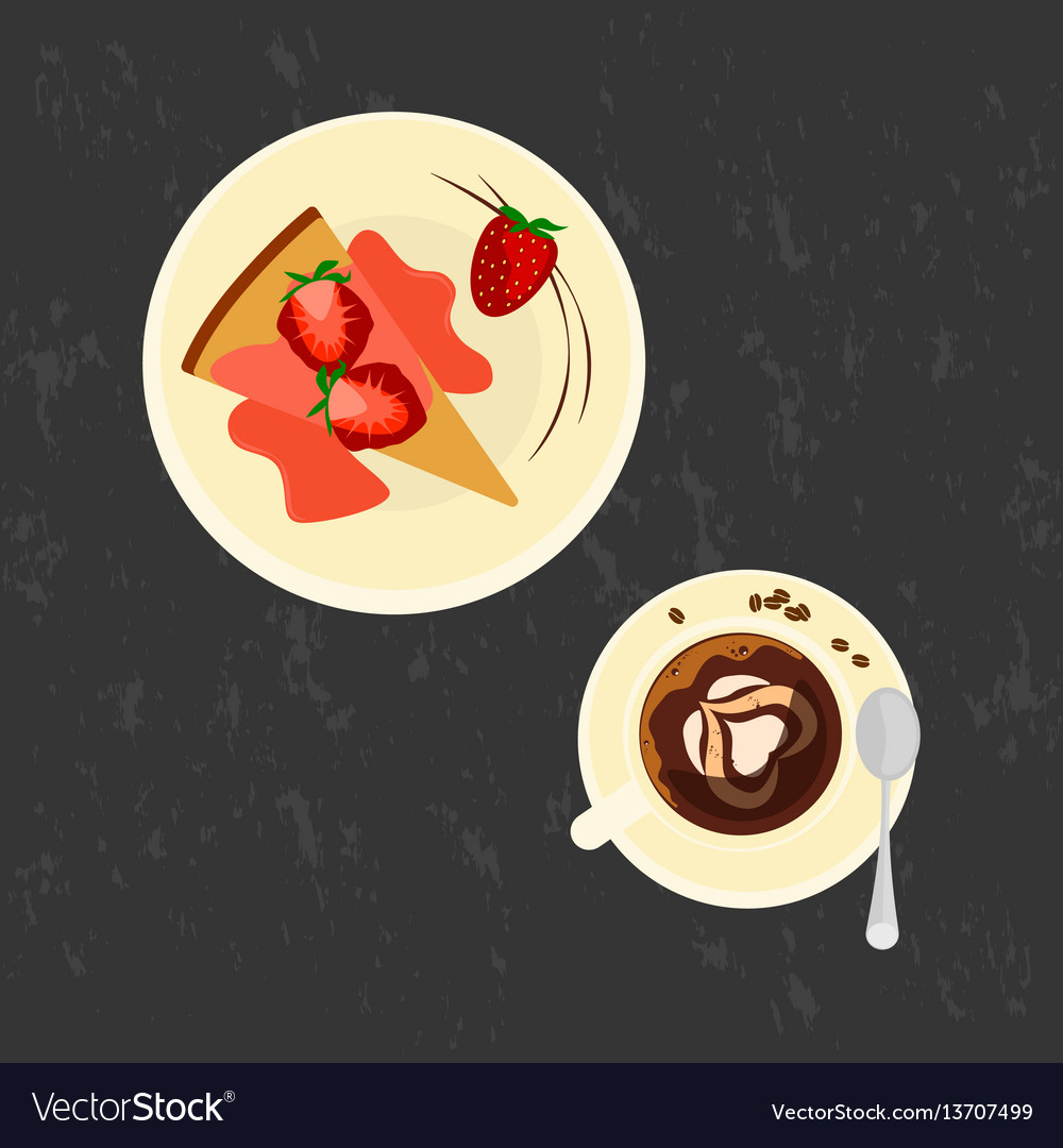 Strawberries cake with love coffee