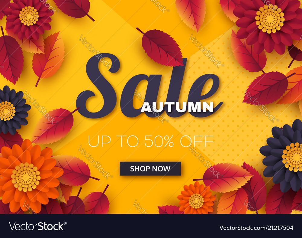 Autumn sale banner with 3d leaves and flowers