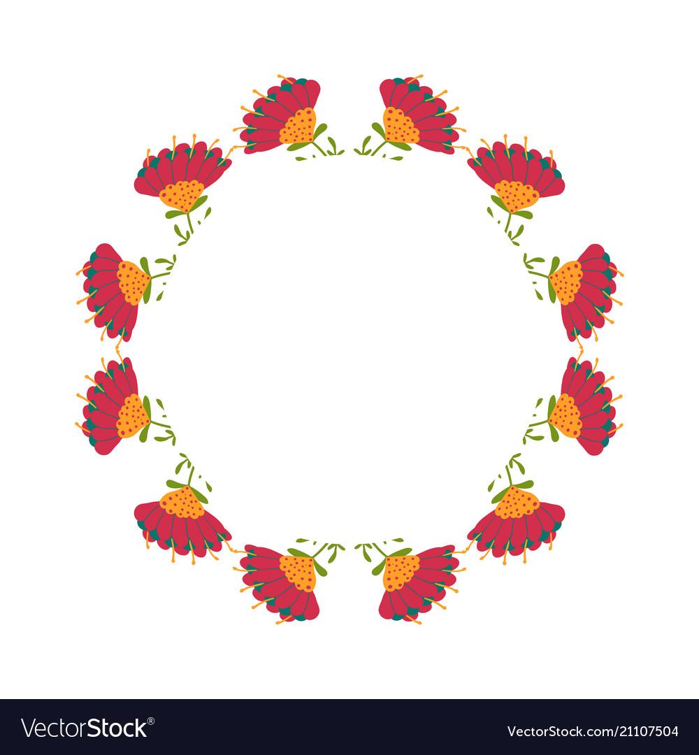 Beautiful wreath elegant floral frame hand drawn