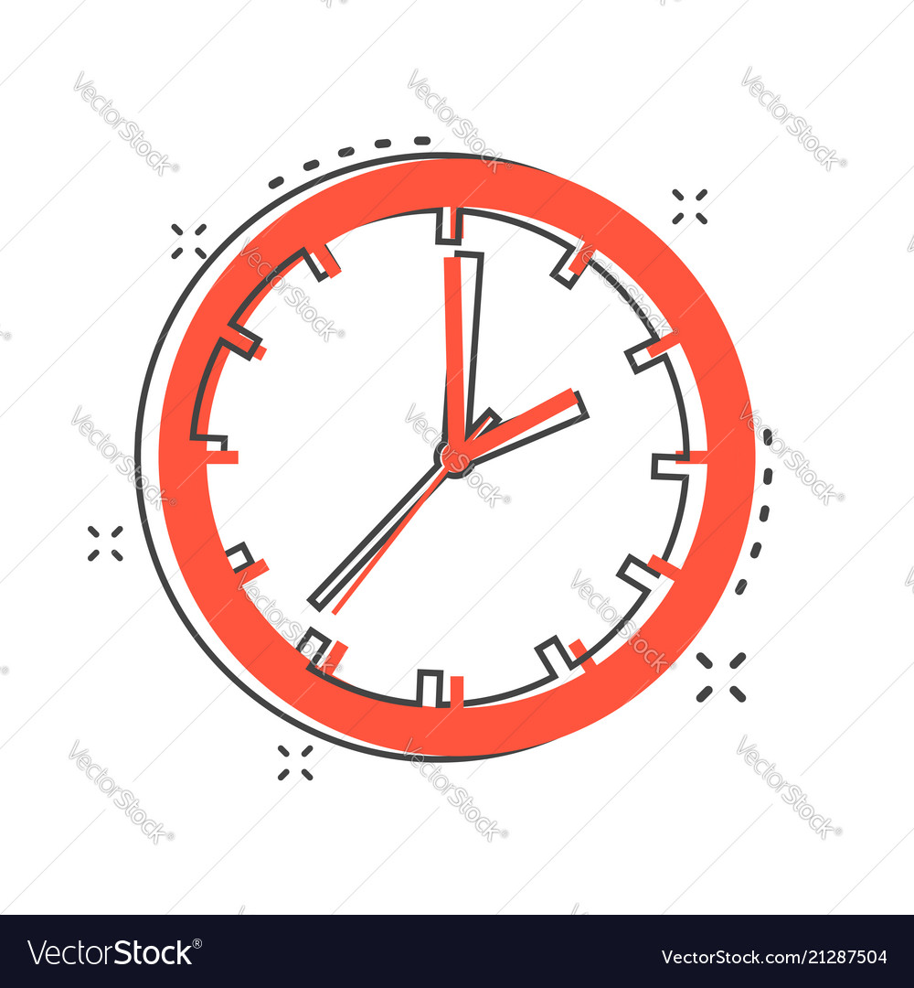Cartoon clock timer icon in comic style time sign