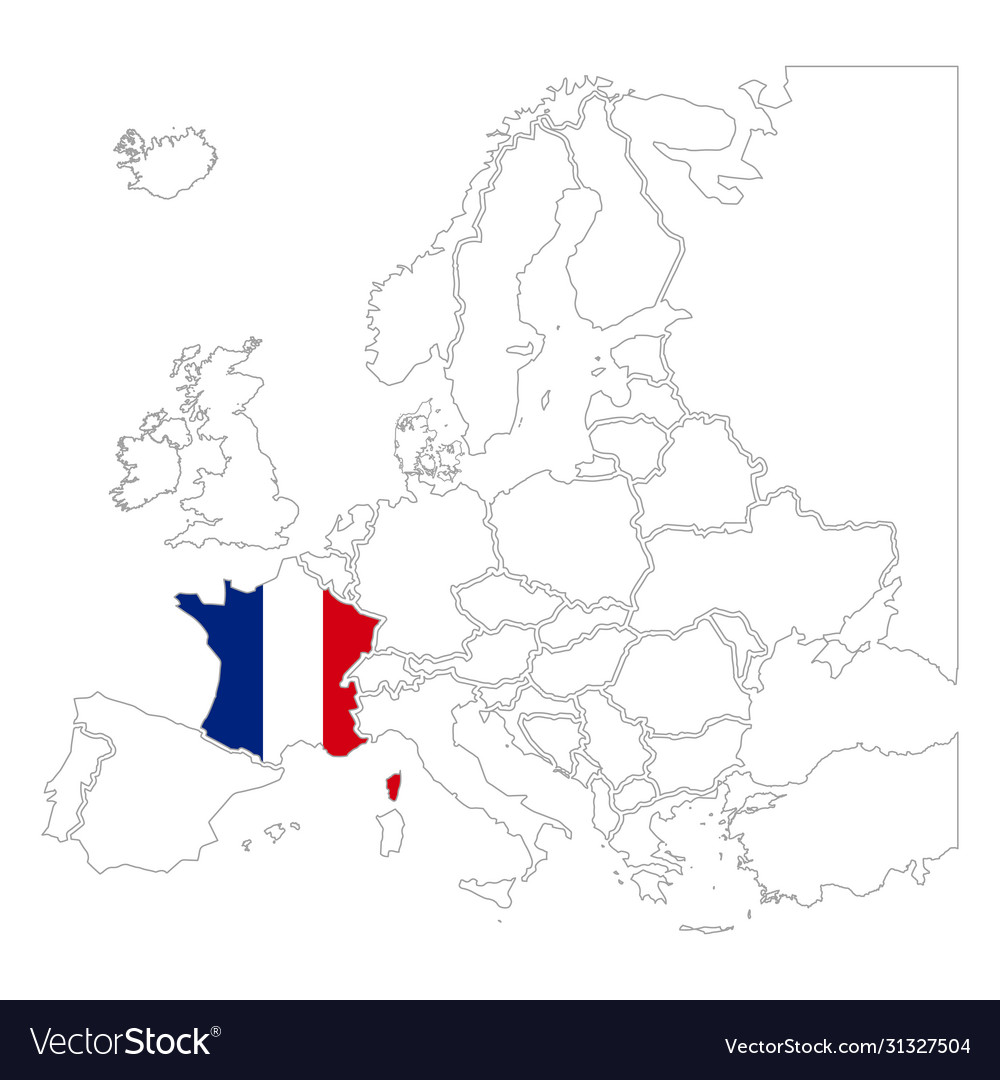 Detailed france silhouette with national flag on