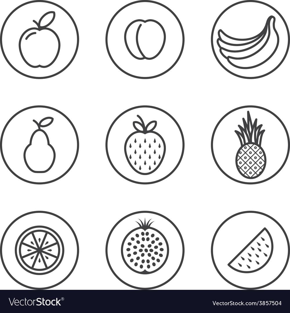 Fruit Flat design thin line icon set