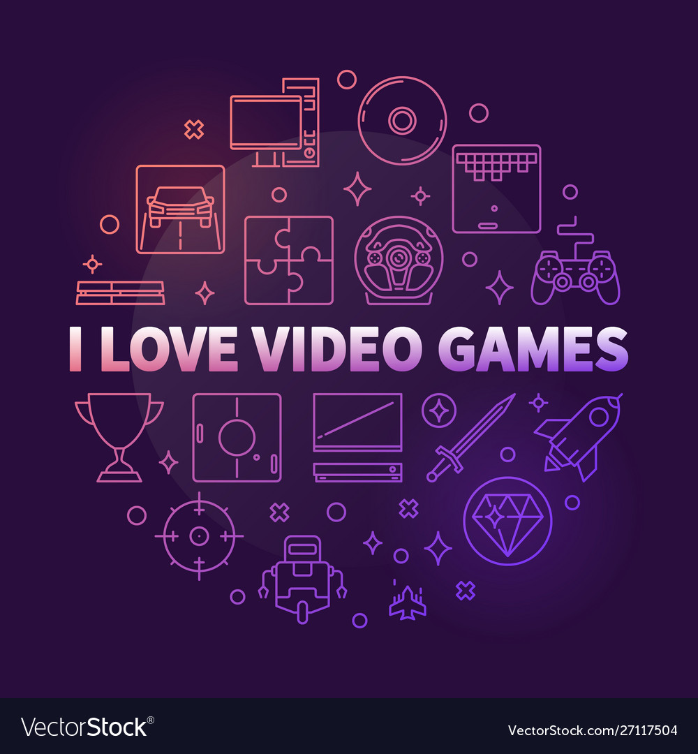 I love video games round colorful outline