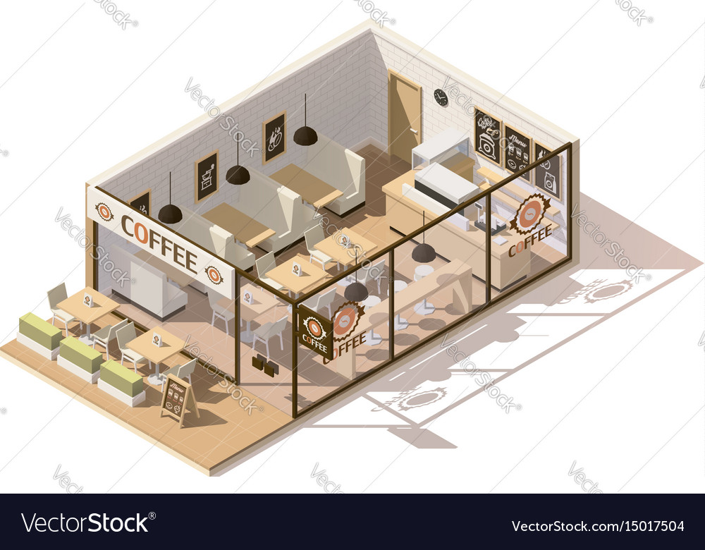Isometric Low Poly Coffee Shop Royalty Free Vector Image